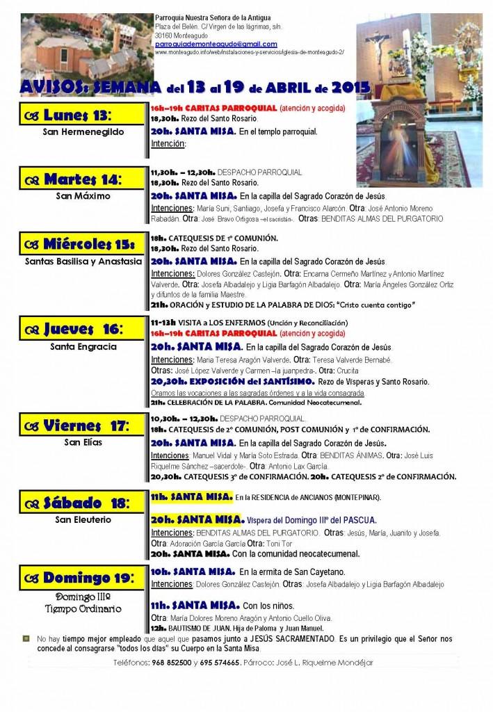 1AVISOS SEMANALES- 2 semana pascua_2015